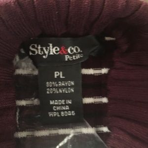 Style & Co Sweaters - Style & Co Petite Striped Mock-Neck Sweater, PL